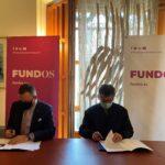 Un momento en la firma del convenio en la sede de FUNDOS en la Casa Botines de León.